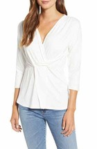 NEW Loveappella M Medium Drape Front Twist Surplice Top Pullover White $45 - $15.34