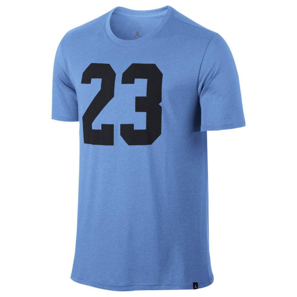 JORDAN Tri-Blend Iconic 23 T-Shirt sz L Large University Blue Retro Flight