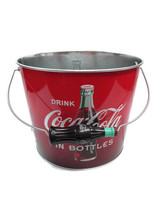 Coca-Cola Galvanized Beverage Bucket Red and Black Ombre with Bottle Handle - $13.61