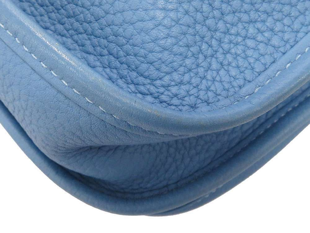 HERMES Evelyne 3 PM Taurillon Clemence Bleu Paradis Shoulder Bag #R Authentic image 4