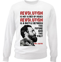 Fidel Castro Revolution Quote - New White Cotton Sweatshirt - $34.33