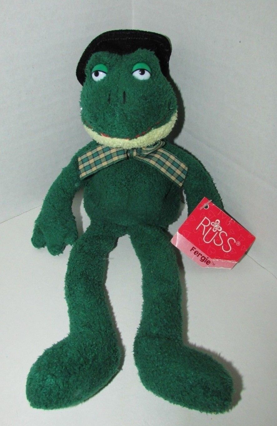 Primary image for Russ Berrie Plush Luv Pets Fergie frog green beanbag plaid bow black top hat