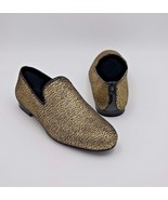 NIB Jimmy Choo Sloane Gold Metallic Pony Fabric Slippers Slip-On Shoes 8... - $345.00