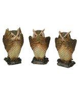 See, Hear, Speak No Evil Brown Owl Shelf Sitter Computer Top Sitters - $21.38