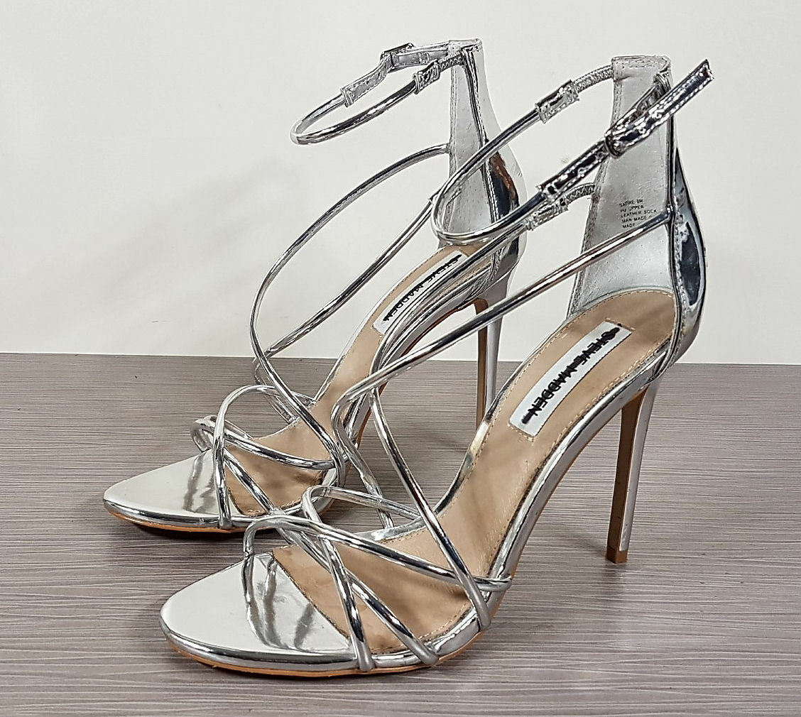 Primary image for Steve Madden Satire Strappy Sandal Metallic Silver Womens Size 8