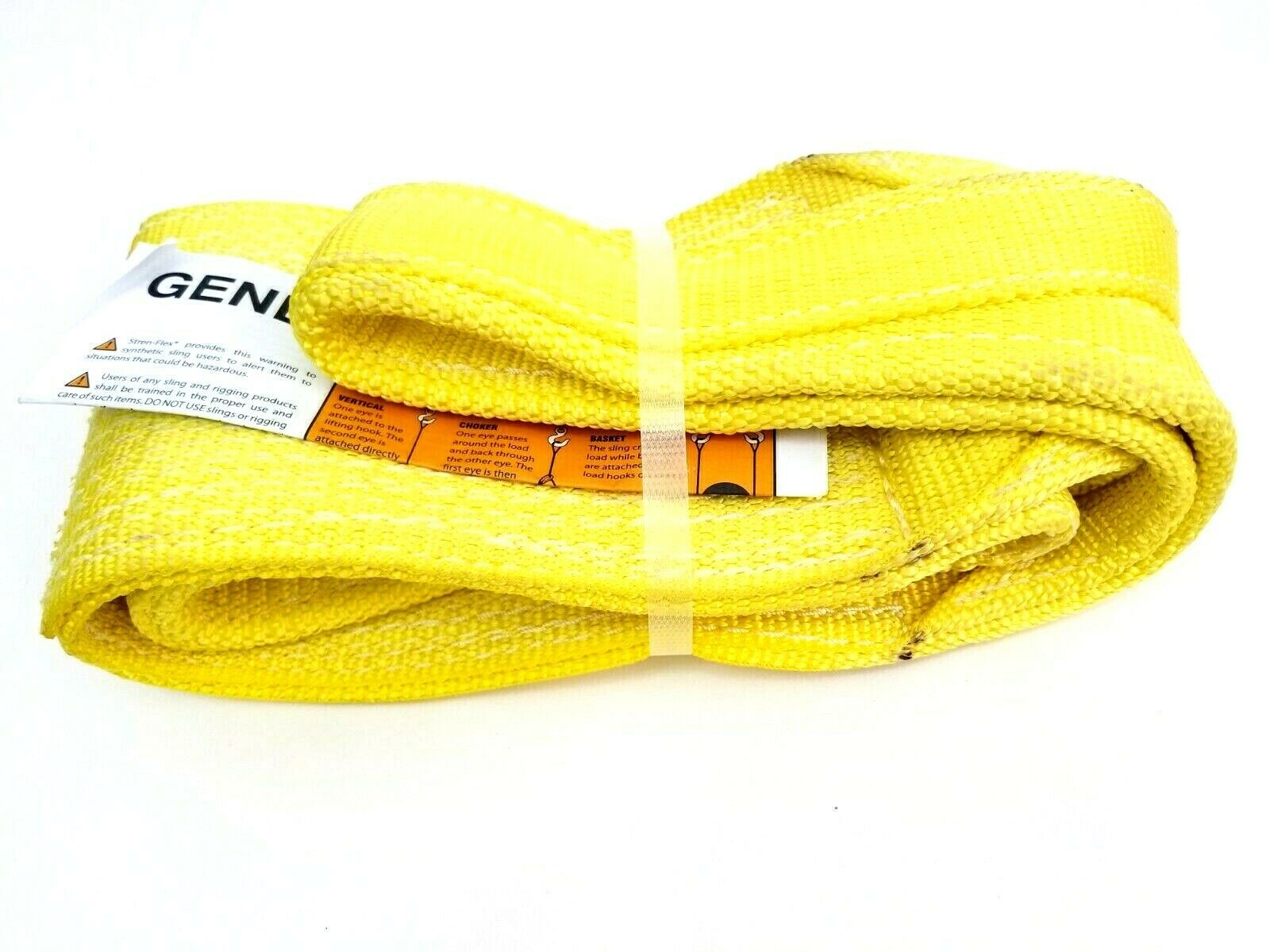 """Stren-Flex Web Sling, Recovery Strap 4' ft x 6"""" in Nylon Yellow Made in USA New image 3"""