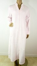 Miss Elaine Pale Pink Long Zip Up Robe Size Small Long Sleeve Embroidered  - $22.80