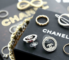 Authentic Chanel CHANEL 2017 Large Crystal CC Logo Circle Earrings -Gorgeous! image 7