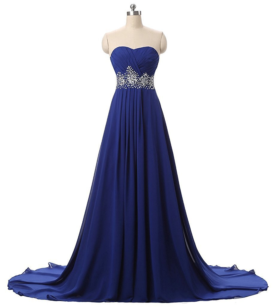 Primary image for Long Chiffon Sweetheart Beaded Prom Dresses Royal Blue Formal Evening Dress 2017