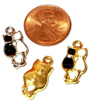Black and White Cats Epoxy Enameled Fine Pewter Charm 10mm L x 19mm W x 2mm D image 2
