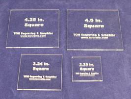 """4 Piece Square Set -Actual sizes   Acrylic 1/8"""" Laser Cut Quilt Templates- - $24.99"""