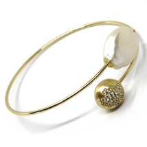 SOLID 925 STERLING SILVER BANGLE BRACELET, ZIRCONIA NUGGET AND DROP PEARL image 2