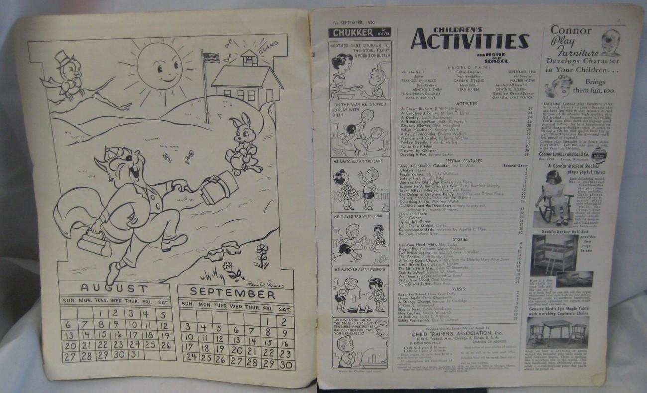 1950 Vintage Childrens Activity Magazine  For Home & School