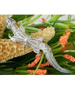 Vintage Sterling Silver Lizard Gecko Brooch Pin Filigree  - $37.95