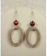 Sterling Silver Earrings with Freshwater Pearl and Oyster Sh - $25.00
