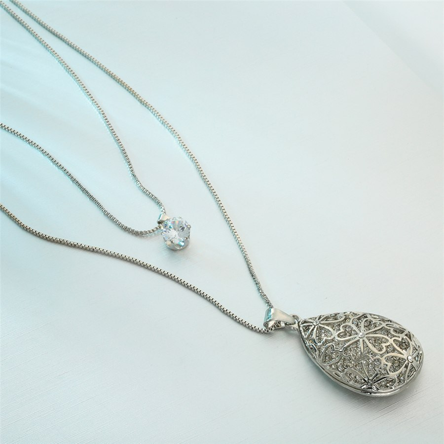 Long Necklace Women Big Water Drop Style, Fashion Round Charm Pendant RM