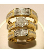 14K Yellow Gold Over 2ct Round Cut Diamonds Trio Bridal Band Engagement Ring Set - $169.89