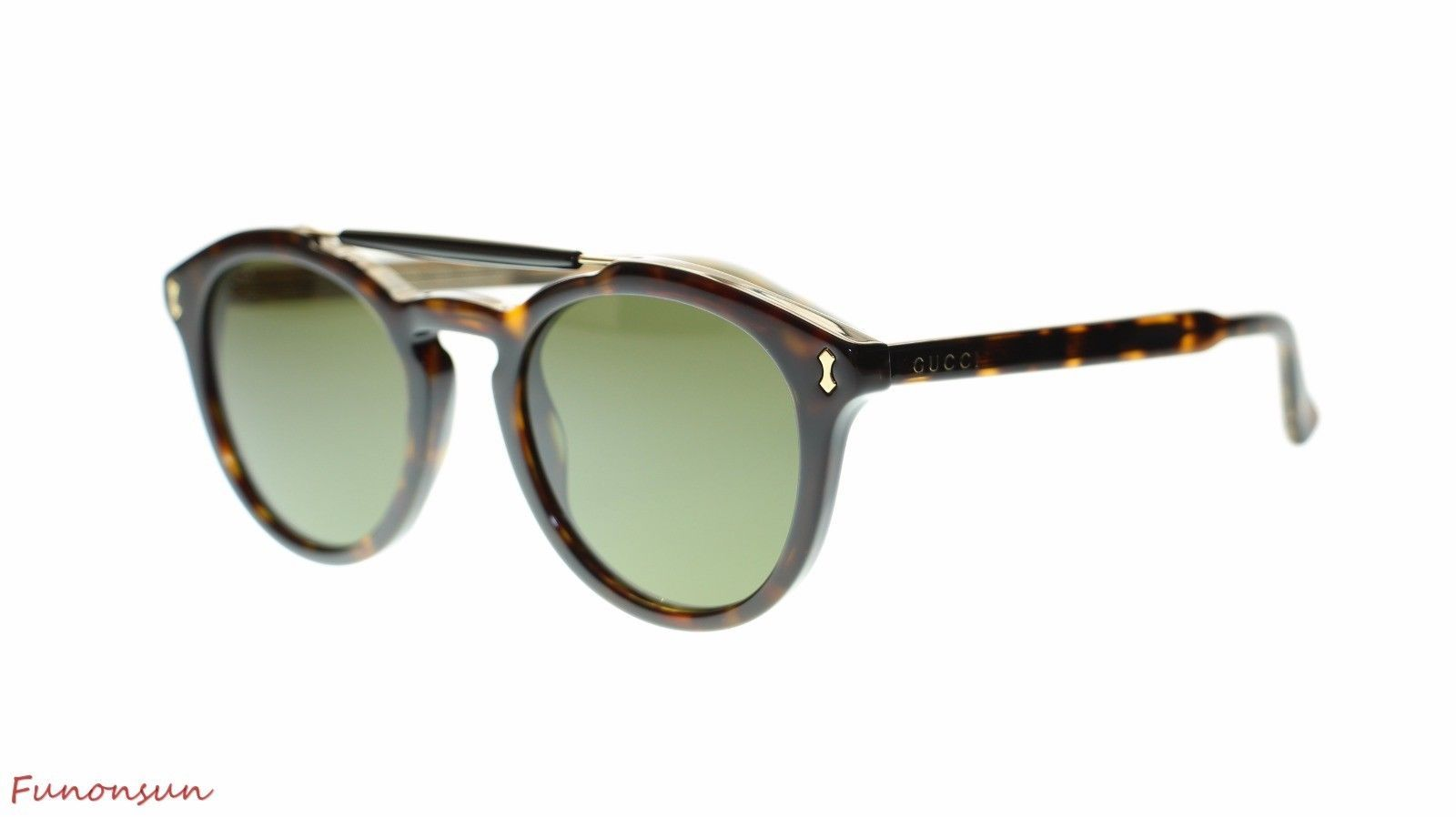894607b9548a S l1600. S l1600. Previous. NEW Gucci Men Round Sunglasses GG0124S 002  Havana/Green Lens 50mm Authentic
