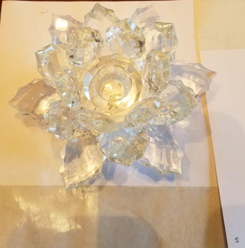 Godinger Crystal Flower Candle Holder Small
