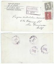2/28/29 San Mateo Burlingame CA to San Francisco REGISTERED Cover! 1929 - $4.99