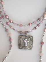 Pink Pearls, Freshwater Pearls, Rose Quartz, Cross necklace, Longhorn Cr... - $89.00
