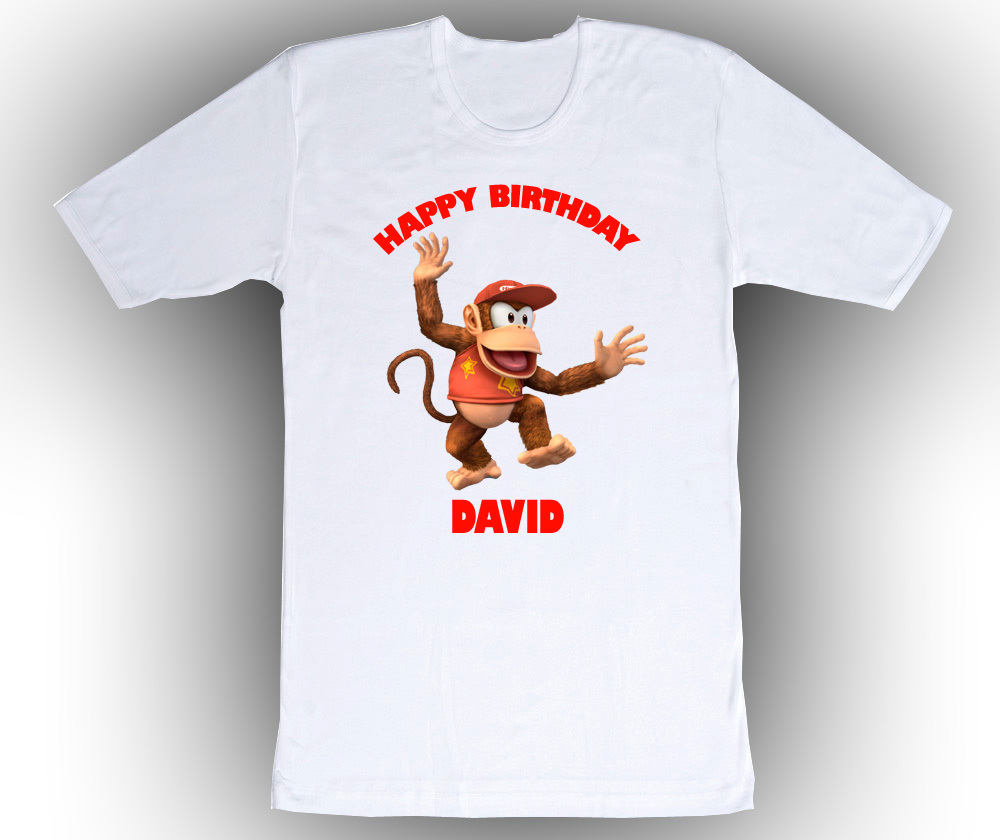 Personalized custom diddy kong birthday t shirt gift t for Custom t shirts personalized gifts