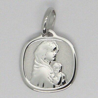 Anhänger Medaille Weißgold 18K, Jungfrau Maria und Jesus, Quadratisch