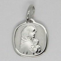 Anhänger Medaille Weißgold 18K, Jungfrau Maria und Jesus, Quadratisch image 1