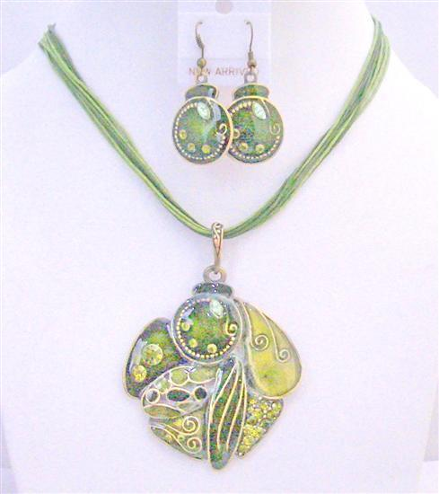 GIft Jewelery Under $15 High Quality Olivine Necklace Set Mu