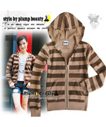 Women's Brown Stripes Zip Sweatshirt Hoodie Jacket Size M, L - $12.00