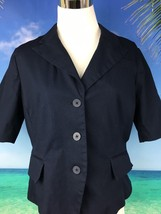 Isaac Mizrahi Womens Jacket Blazer Navy Blue Size 12 Button Front Lined 2066 - $12.36