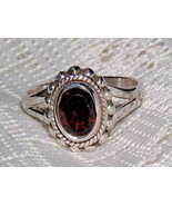 Garnet and Sterling Silver Beaded Ring size 6 3/4 - $26.00