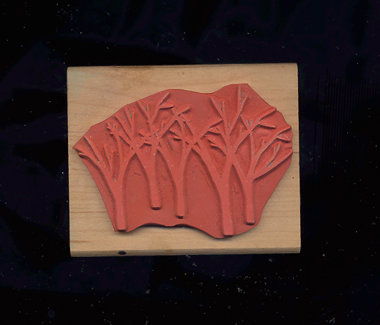 BIG BARE TREES RUBBER STAMP