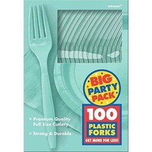 Amscan Big Party Pack 100 Count Mid Weight Plastic Forks, Robbins Egg Blue - $14.95