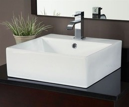 Ryvyr CVE189SQ Vitreous China Square Vessel Sink in White - $148.50