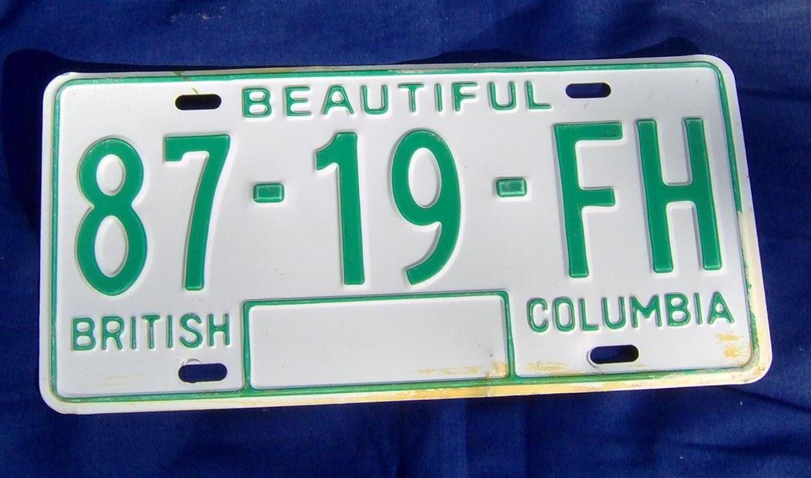 1979 to 1986 Canada British Columbia Single License Plate 87-19-FH