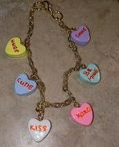 Conversation Heart Charm Bracelet Gold Tone Charm Valentine's Candy Hearts Clay - $7.00