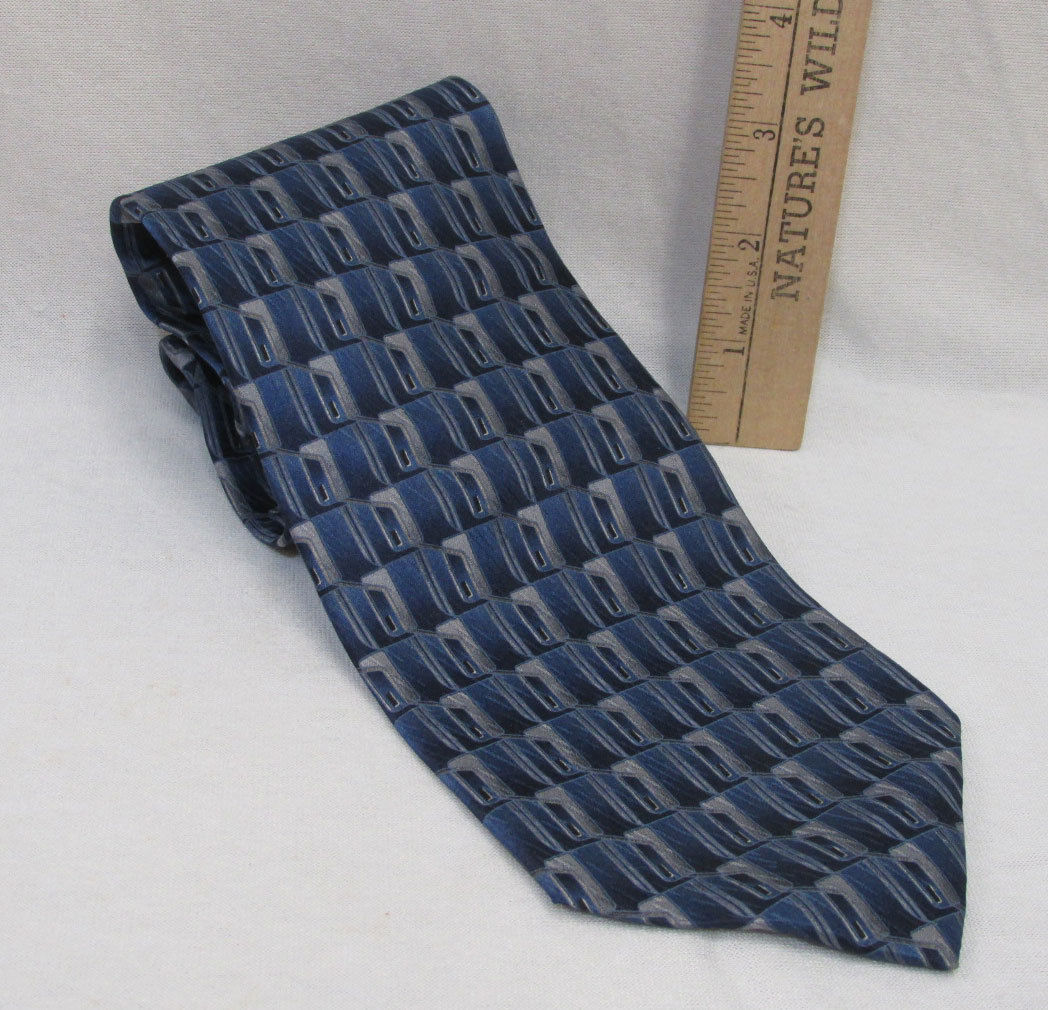 Primary image for Mens Neck Tie Stafford USA Made Shades Blue Silver & Gray Abstract Geometric