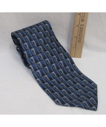 Mens Neck Tie Stafford USA Made Shades Blue Silver & Gray Abstract Geome... - $7.91