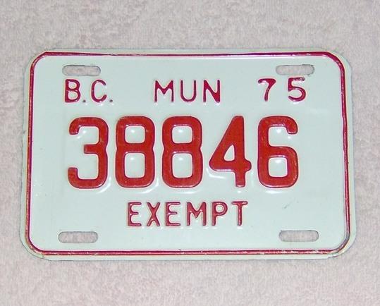 1975 municipal plate
