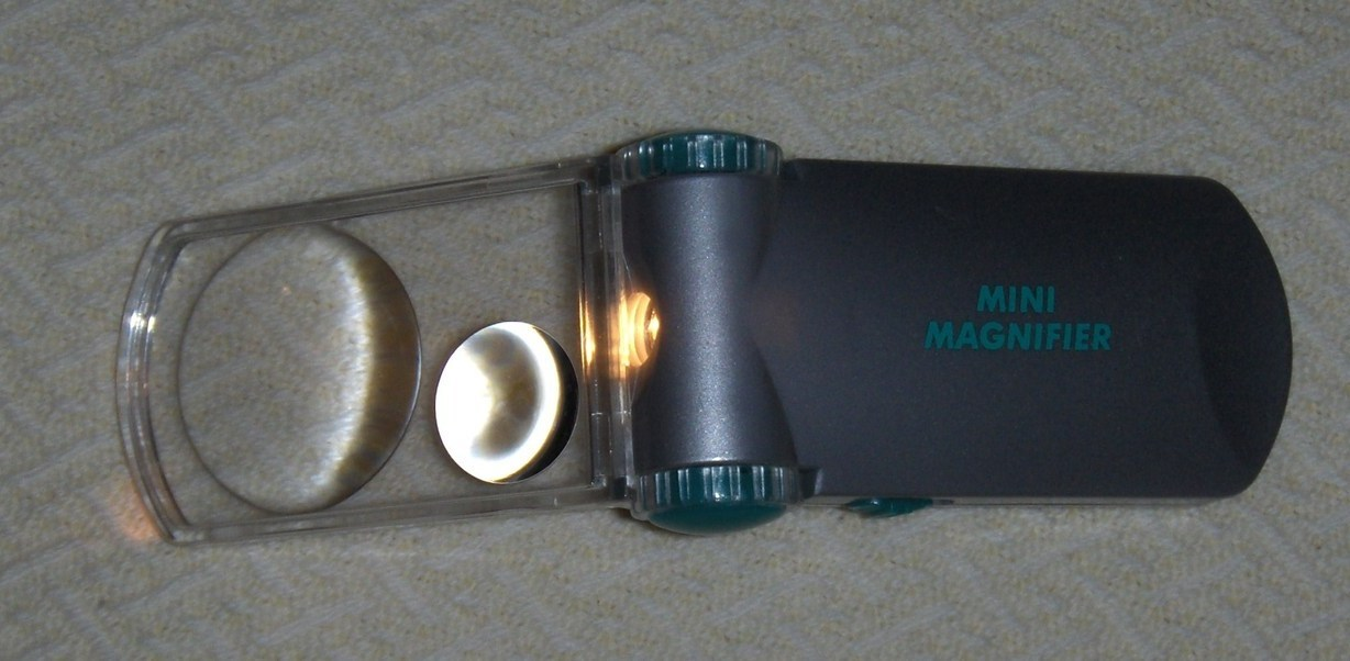 Mini Magnifier with Light and Carrying Case Batteries Not Included