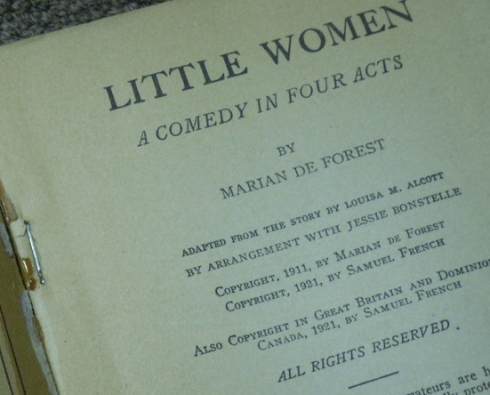 Primary image for Book - LITTLE WOMEN - Play Booklet 1959