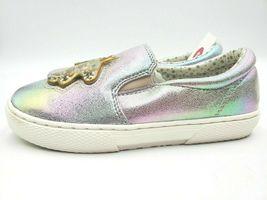 Cat & Jack Silver Iridescent Gold Unicorn Roana Girls Kids Slip-on Shoes NWT image 3