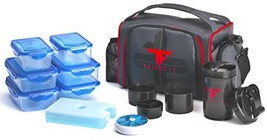 ThinkFit Insulated Lunch Boxes Red/Blue With 6 Portion Control Containers, Reusa