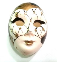 Harlequin Style Mask Pin Vintage White Black Goldtone - $17.09