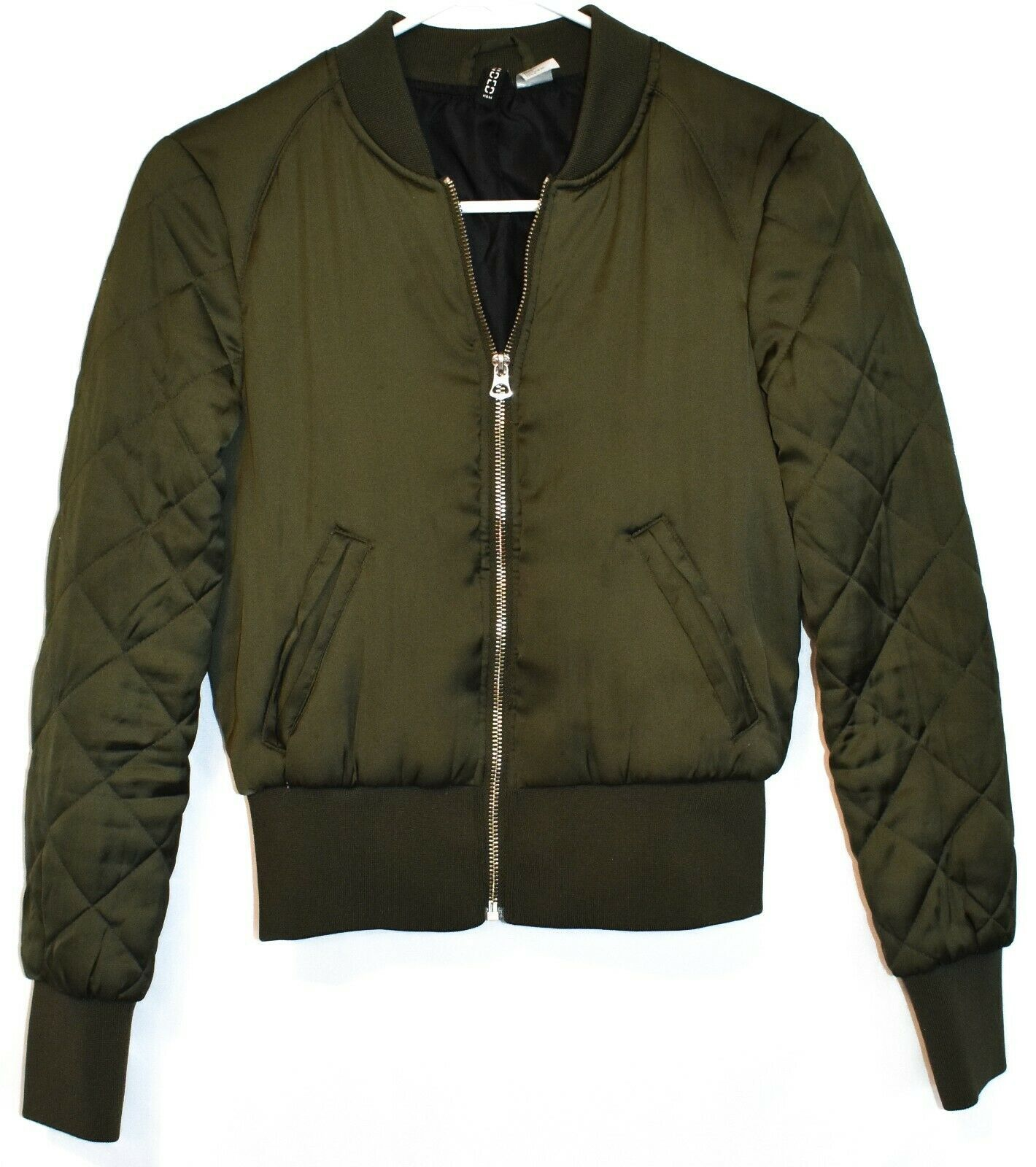 Divided by H&M Women's Army Green Zip Up Puffer Bomber Jacket Size 2