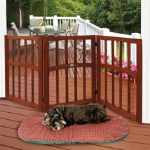 Wooden Folding  Stand Alone Pet Dog Gate with Pow Accent - $28.78