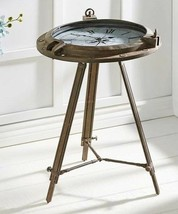 "26.7"" Tripod Nautical Table Clock - Ship Wheel Design w Roman Numberals Rustic"
