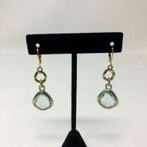 Avon Fancy Faced Drop Earrings Prism Light Blue Lever Back Silver Gold Tone - $12.66