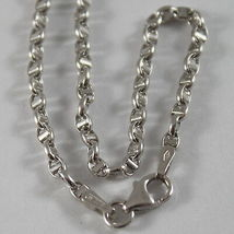 18K WHITE GOLD CHAIN NECKLACE SAILOR'S OVAL NAVY LINK 15.75 IN. MADE IN ITALY image 3